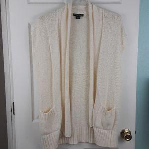 Eddie Bauer Cream XL Knit Short Sleeve Cardigan